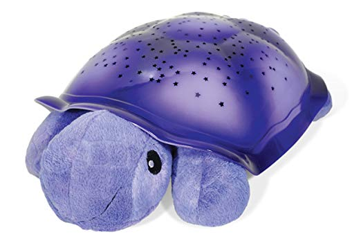 Purple turtle plush night light - with stars